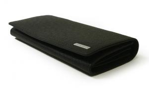 No.3 長財布 メンズ 二つ折 (ブラック) 型押し牛革