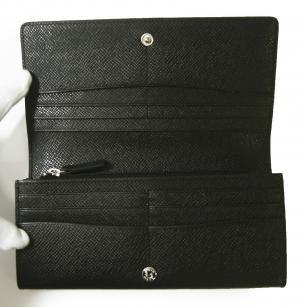 No.4 長財布 メンズ 二つ折 (ブラック) 型押し牛革