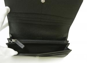 No.5 長財布 メンズ 二つ折 (ブラック) 型押し牛革