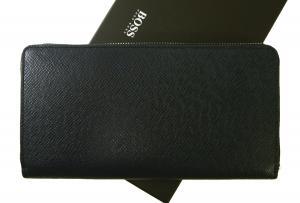 No.2 長財布 メンズ ラウンドファスナー (ダークブルー) 型押し牛革