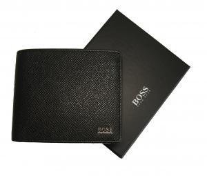 ヒューゴ・ボス 財布 メンズ 三つ開き 型押し牛革 (ブラック)