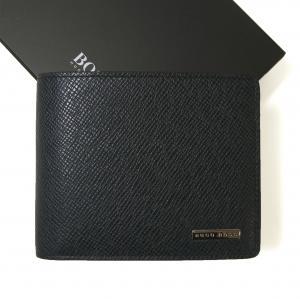 ヒューゴ・ボス 財布 メンズ 三つ開き 型押し牛革 (ダークブルー)