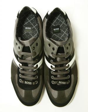 No.3 スニーカー  靴 シューズ キャンバス レザー BOSS GREEN AKEEN (グレー)