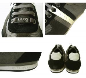 No.4 スニーカー  靴 シューズ キャンバス レザー BOSS GREEN AKEEN (グレー)