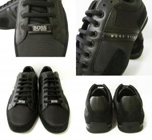 No.4 スニーカー  靴 シューズ キャンバス レザー 45(日本サイズ約27.5cm) BOSS GREEN SPACIT(ブラック)