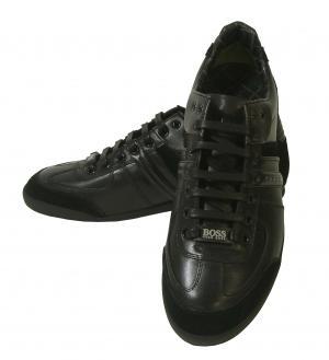 ヒューゴ・ボス スニーカー  靴 シューズ BOSS GREEN  レザー AKI (ブラック)