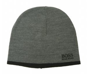 ヒューゴ・ボス 帽子 キャップ ニット帽 メンズ グレー×ブラック