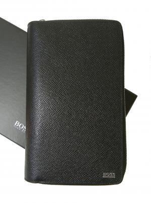 ヒューゴ・ボス 長財布 メンズ ブラック ビジネス クラッチバッグ トラベル