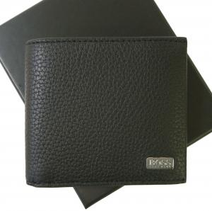 ヒューゴ・ボス 財布 メンズ 二つ折 (ブラック) 型押し牛革