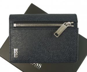 ヒューゴ・ボス カードケース 小銭入れ メンズ ミニ財布 コインケース 型押し牛革 (ダークブルー)