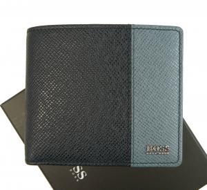 ヒューゴ・ボス 財布 メンズ 二つ折り 型押し牛革 (ダークブルー×ブルー)