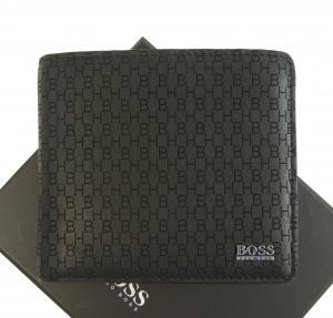 ヒューゴ・ボス 財布 メンズ 二つ折り 牛革 モノグラム ロゴ(ブラック)