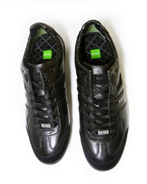No.2 スニーカー  靴 シューズ BOSS GREEN  レザー AKI (ブラック)