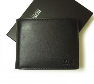 ヒューゴ・ボス 財布 メンズ スムースレザー 二つ折(ブラック)