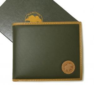 ハンティングワールド 財布 バチュー BATTUE ORIGIN 二つ折 (グリーン×ナチュラル)