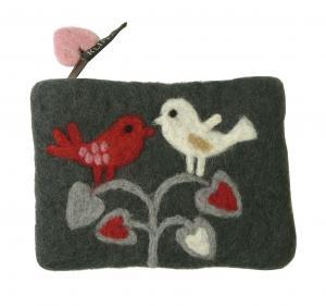 クリッパン ポーチ 北欧 スウェーデン フェルトウール LOVE-BIRDS グレー