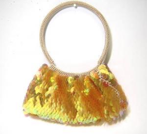 カイシルク バッグ  レディース シルク&スパンコール セミショルダーバッグ(オレンジ)