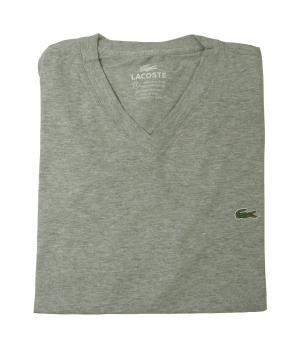 ラコステ Tシャツ  ピマ・コットン Vネック 5(M)サイズ (グレー)