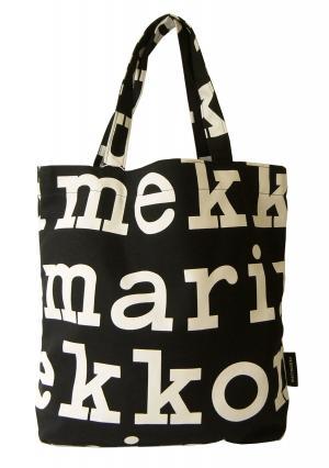 マリメッコ トートバッグ ブラック 黒  ショッピングバッグ Notko Logo ロゴ