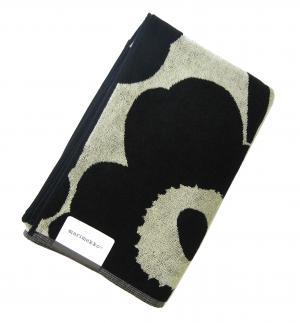 マリメッコ バスタオル 北欧 ウニッコ Unikko ブラック×ベージュ ギフト 75×150cm