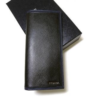 438e63292252 [ プラダ ] バイカラー二つ折長財布(ブラック+バルティコ) - P プラダ PRADA 財布 メンズ ...