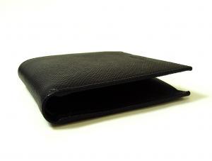 No.3 財布 サフィアノレザー 二つ折 (ブラック)