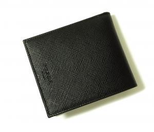 No.7 財布 サフィアノレザー 二つ折 (ブラック)