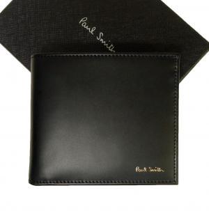 ポールスミス 財布 メンズ 二つ折 (ブラック+マルチストライプ)