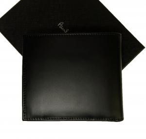 No.2 財布 メンズ 二つ折 (ブラック+マルチストライプ)