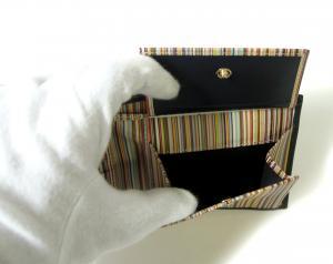 No.7 財布 メンズ 二つ折 (ダークブルー+マルチストライプ)