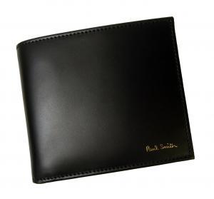 No.7 財布 メンズ 二つ折 (ブラック+マルチストライプ)