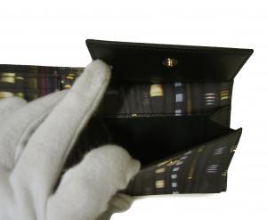 No.7 財布 メンズ 二つ折 (ブラック/ストライプスカーフ)