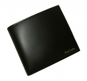 No.9 財布 メンズ 二つ折 (ブラック/ストライプスカーフ)
