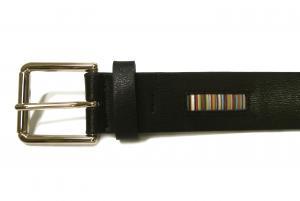 No.4 ベルト メンズ  ブラック マルチストライプトリム 94cm