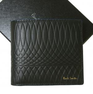 ポールスミス 財布 メンズ 二つ折 エンボスデザイン ブライトストライプ