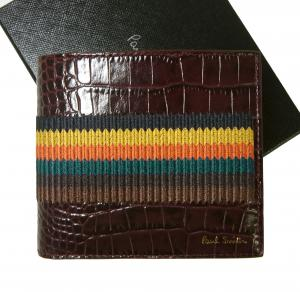 ポールスミス 財布 メンズ 二つ折 クロコ型押し ストライプ Bright Stripe