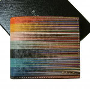ポールスミス 財布  ミックスストライプ 二つ折 Mixed-Stripe