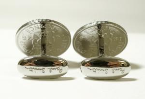 No.3 カフスボタン コイン イギリスコイン ストライプ カフリンク