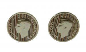 No.5 カフスボタン コイン イギリスコイン ストライプ カフリンク