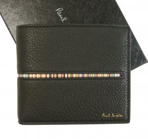 ポールスミス 財布 メンズ 二つ折(ブラック+マルチストライプ)