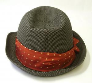 No.3 帽子 トゥリルビー 中折れ帽 ハット (カーキ千鳥格子) Sサイズ(頭周り57cm)