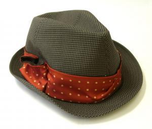 No.4 帽子 トゥリルビー 中折れ帽 ハット (カーキ千鳥格子) Sサイズ(頭周り57cm)