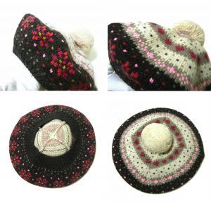 No.2 帽子 レディス ニットベレー帽 (チャコールグレー)