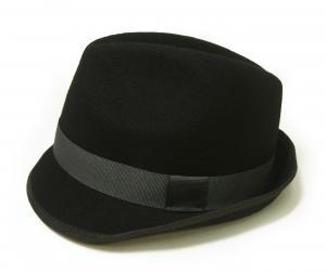 No.2 帽子 中折れハット フェルトウール Mサイズ(頭周り58.5cm)(ブラック)