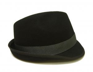 No.4 帽子 中折れハット フェルトウール Mサイズ(頭周り58.5cm)(ブラック)
