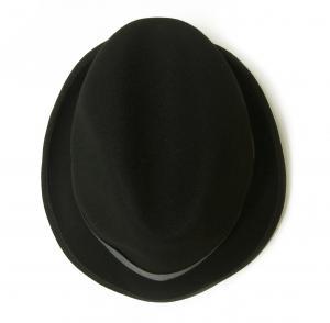 No.8 帽子 中折れハット フェルトウール Mサイズ(頭周り58.5cm)(ブラック)