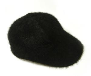 No.4 帽子 キャップ フアー (ブラック) Lサイズ(約60.5cm)