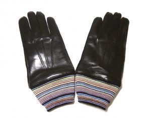 ポールスミス 手袋 メンズ レザー グローブ Lサイズ マルチストライプ (ブラック)
