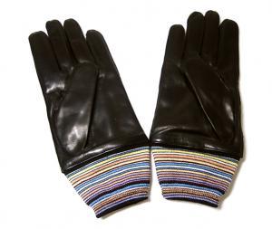 No.2 手袋 メンズ レザー グローブ Lサイズ マルチストライプ (ブラック)
