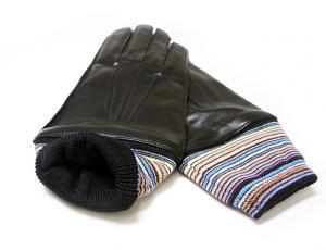 No.3 手袋 メンズ レザー グローブ Lサイズ マルチストライプ (ブラック)
